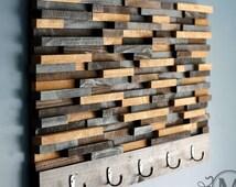Key holder.wall key holder.key hook.key rack.key holder wall.organizer.decorative wall key holder.entryway organizer(Wood Tile Coat Rack)