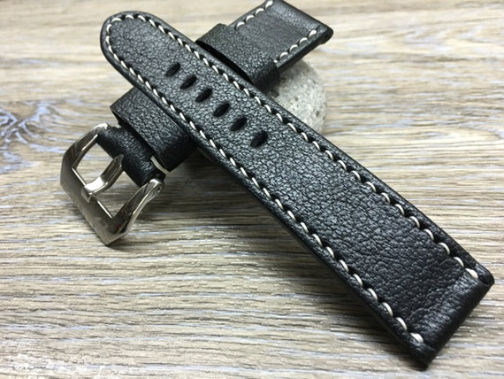 24mm Leather watch strap, Black colour watch band for Panerai, 26mm watch strap, Handmade Leather watch Band, 22mm Pre-v Buckle for Panerai