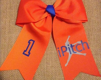 Softball Pitcher Themed Hair Bow with 3 or 4 inch Ribbon