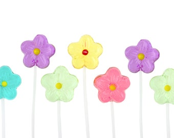120 Handmade Daisy Candy Long-Stem Lollipops for Party Favors Valentines