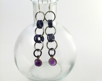 Colorful Chainmaille ~ Silver & Niobium Plum Earrings
