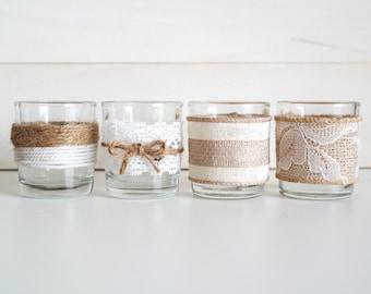 Set of 20/40/100 Burlap Twine Lace Votive Candles Complete Wedding Set Lot