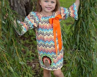 Fall Chevron Turkey Peasant Dress, Thanksgiving Dress, Applique Embroidered Dress
