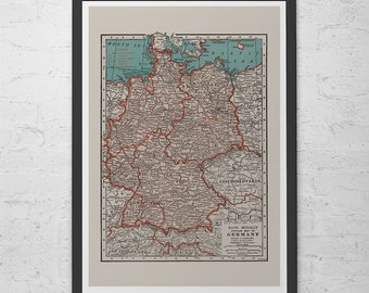 VINTAGE GERMANY MAP - Vintage Map of Germany Wall Art - Vintage Map Reproduction, German Map, Vintage Germany Map