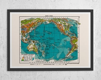 VINTAGE MAP of the Pacific Ocean - Vintage Map Wall Art - Vintage Map Reproduction, Pacific Ocean Map, Retro Pacific Map