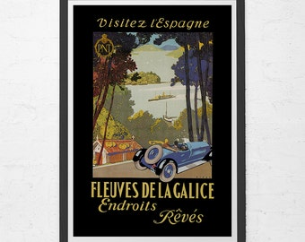 SPAIN TRAVEL POSTER - Galice Travel Poster - Vintage Car Poster, High Quality Reproduction, Antique Car Poster, Victorian Car Poster
