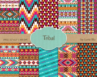 """Tribal Digital Paper: """"Colorful Tribal Patterns"""" with triangles, chevron, arrows, aztec digital paper, tribal designs"""