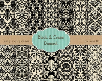 """Black and Cream Digital Paper: """"Black and Cream"""" damask patterns, damask backgrounds for scrapbooking, cardmaking, invites, craft supplies"""