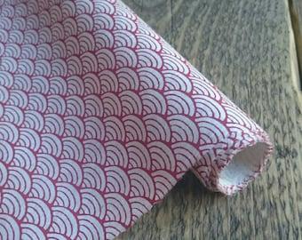Red Japanese Wave Pattern Gift Wrap. Handmade Lokta Paper. 75 x 50cm.