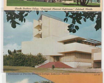 3 Lakeland-Florida-Southern College-Frank Lloyd Wright- Buildings -Designs C1950,Unused Postcards,Not Reproductions