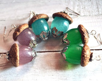 Colorful Acorn Earrings / Acorn Earrings / Fall Earrings / Acorn Jewelry / Fall Jewelry / Botanical Earrings