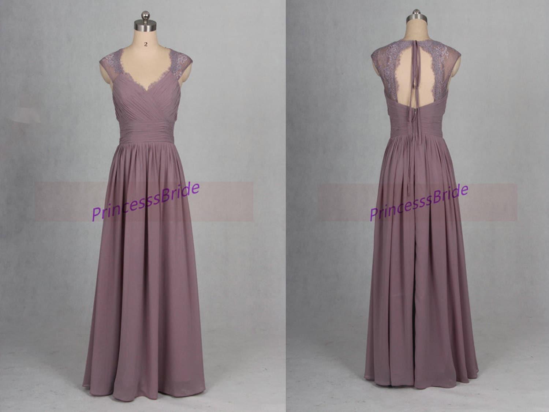 2016 long gray purple chiffon bridesmaid dress hot latest