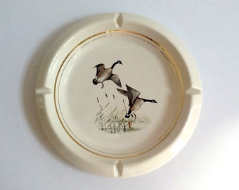 Large Ceramic Ashtray, Flying Geese, Gold Trim, Nature Motif