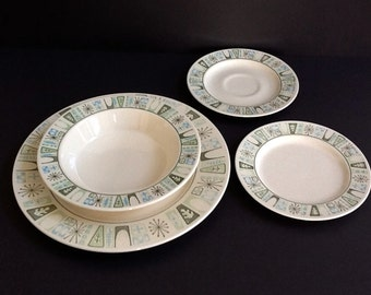 Taylor Smith Taylor 4 Piece Place Setting, Cathay, Mid Century Atomic Dinnerware