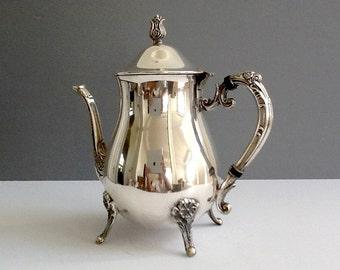 Mid Century Leonard Silver Plate Teapot, Silver Plate Tea or Coffee Server