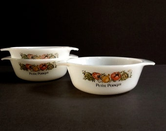 Anchor Hocking Fire King Petite Potager Casserole Dishes, Set of 3, #472 Ovenware, Vegetable Motif