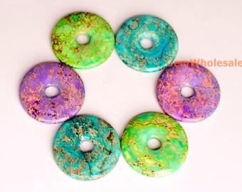 50mm Sea Sediment Imperial Jasper round donut,  emperor jasper,semi precious stone, Aqua Terra Jasper donut pendant,