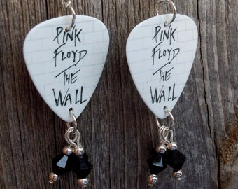 Pink Floyd The Wall Guitar Pick Earrings with Crystal Dangles