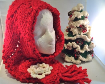 Fire Engine Red Christmas Rose Hand Knit Scarf