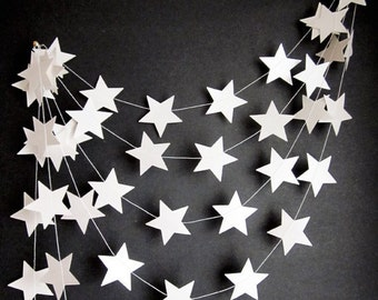 White star garland // Christmas star // Nursery // vintage style book page various material