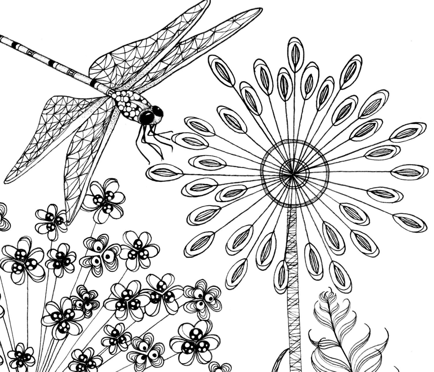 Printable coloring pages of a flower illustration & dragonfly