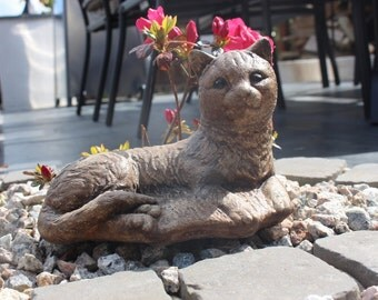 Contented Cat,  Stone Garden Ornament, Made in Cornwall, Cornwall Stoneware, Garden Gift Idea, Lawn Decor, Home and Living, Outdoors