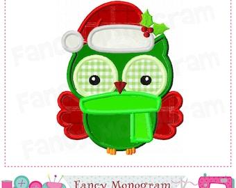 Christmas Owl applique,Owl applique,Christmas design with Owl,Christmas,Owl, Santa Claus design,Santa Claus applique. -01