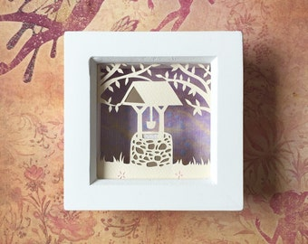 Wishing well papercut, make a wish, papercutting, small papercut, fantasy art, wishing well picture, home decor, wall art.