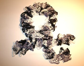 Luxuriously Soft Crocheted 3 in 1 Infinity Ruffled Scarf  78 inches Black/White/Gray
