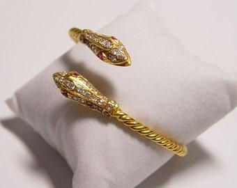 Solid 22k Gold Snake Serpent Bracelet Bangle Middle East Vintage 22kt