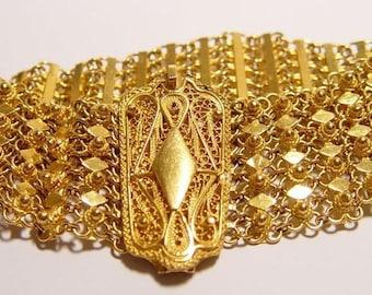 23k SOLID Mesh Pikun Flower Bracelet hand made in Jordan Middle East 77 grams 23kt