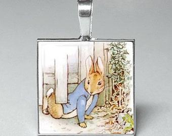Beatrix potter rabbit rabbits books glass tile pendant jewelry