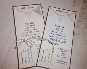 Handmade Bunting Wedding Invitation Invite Vintage