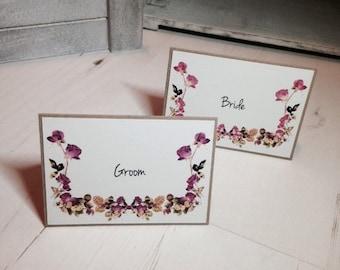 Wedding Place Card Name Rustic Vintage Floral Pink