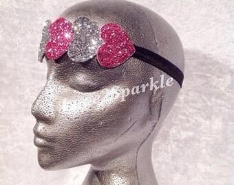 Glitter Heart Stretch Headband, heart hairband, glitter hearts, sparkly hair, party hair, hen party, prom, wedding