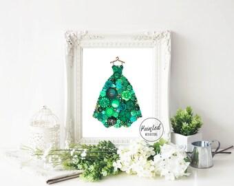 Button Art PRINT - Emerald Gown - Giclee Art Print, Fancy Dress Print, Ball Gown Art Print, Original Art Print, Elegant Gown Art