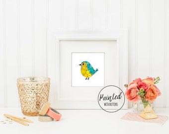 Baby Bird PRINT, Nursery Art Print, Nursery Bird Decor, Small Bird Print, Kids Room Decor, Bird Wall Art, 6x6 Print, Free US Shipping