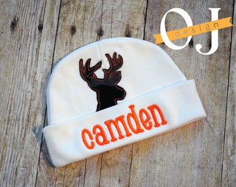 Personalized Baby Boy Deer Camo Newborn Hat - Appliqued Newborn Hat -  embroidered - Newborn Hat - Orange Camouflage