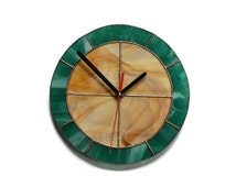 Modern Wall clock,  Simple Functional Decor in wood brown and teal colors, Unique Stained Glass Art for home for office