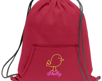 Sweatshirt material cinch bag with front pocket and embroidered spirit design - Bird - Multiple Colors - Camouflage - BG614