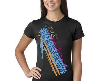 Gymnastics Paint Splash Juniors Longer Length T-Shirt Black, Grey, and White Sport Tee Shirt