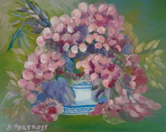 Pink Hydrangea Oil Painting by Betty Peatross Original Oil Painting