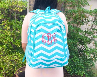Monogrammed Backpack, Aqua Backpack, Teal Backpack, Turquoise Backpack, Personalized Backpack, Girl Backpack, Canvas Bag, Back to School