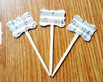 Music Cupcake Toppers  Musical Cupcake Toppers Music Notes Party Picks