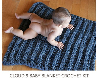CROCHET KIT Cloud 9 Baby Blanket: Super Bulky Soft Luxuriously Thick Merino Yarn, Large Size S Hook, Knitting Pattern. diy. Free US Shipping