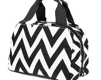 Black Chevron,  Lunch Box, Lunch Tote, Thermal Insulated, Monogramed