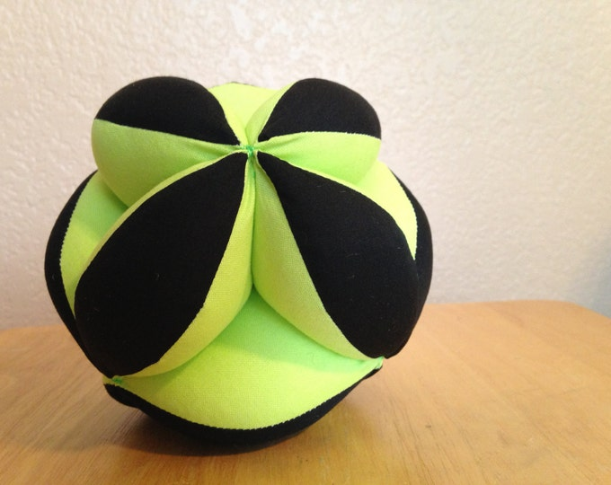 Soccer Ball Montessori Puzzle Ball Lime Green and Black Geometric Baby Clutch Ball. Sensory Learning Toy. Soft and Safe Play