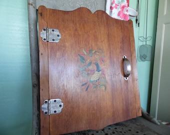 Vintage Kitchen Cabinet, Wooden Cupboard, Wood Cabinet With Pennsylvania Dutch Bird of Paradise, Kitchen Shelf