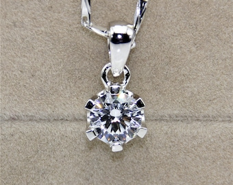 1ct Center Esdomera Moissanite Round 6-prongs Solitaire Style 14k White Gold Pendants Necklace (CFP0014-MS1CT)