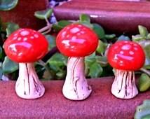 Ceramic Toad Stools set of 3- Paprika Red for Fairy Garden-Terrarium-Aquarium